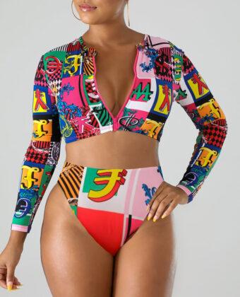 Traje de baño Bikinis de cintura alta ajustados con cremallera y manga larga con estampado de símbolo de moneda para mujer