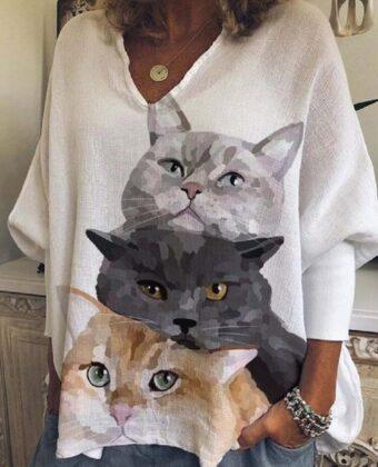 Mujer Gato Blusa informal holgada de manga larga con estampado