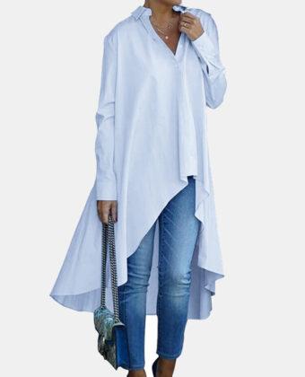 Manga larga irregular suelta de color sólido Camisa para Mujer