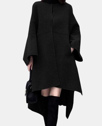 Abrigo asimétrico de manga larga con cuello en O de color sólido para Mujer.