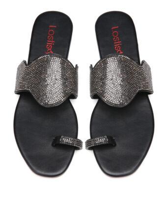 Mujer Dama Casual Lentejuelas Clip Toe Flat zapatillas