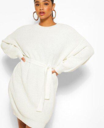 Plus Waffle Knitted Self Belt Sweater Dress