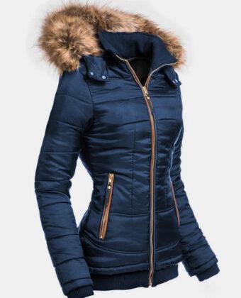 Abrigo casual con capucha y cremallera frontal de color liso para Mujer.