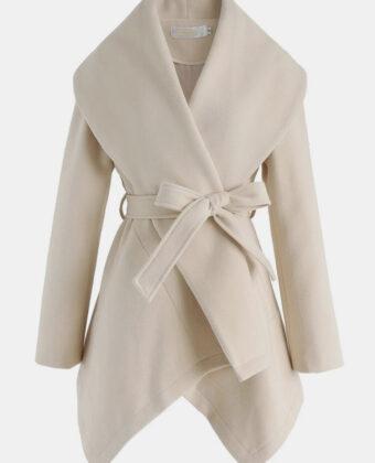 Abrigo informal de manga larga con dobladillo asimétrico y cintura de color sólido para Mujer.